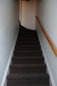 Carpeted stairs going to upstairs unit